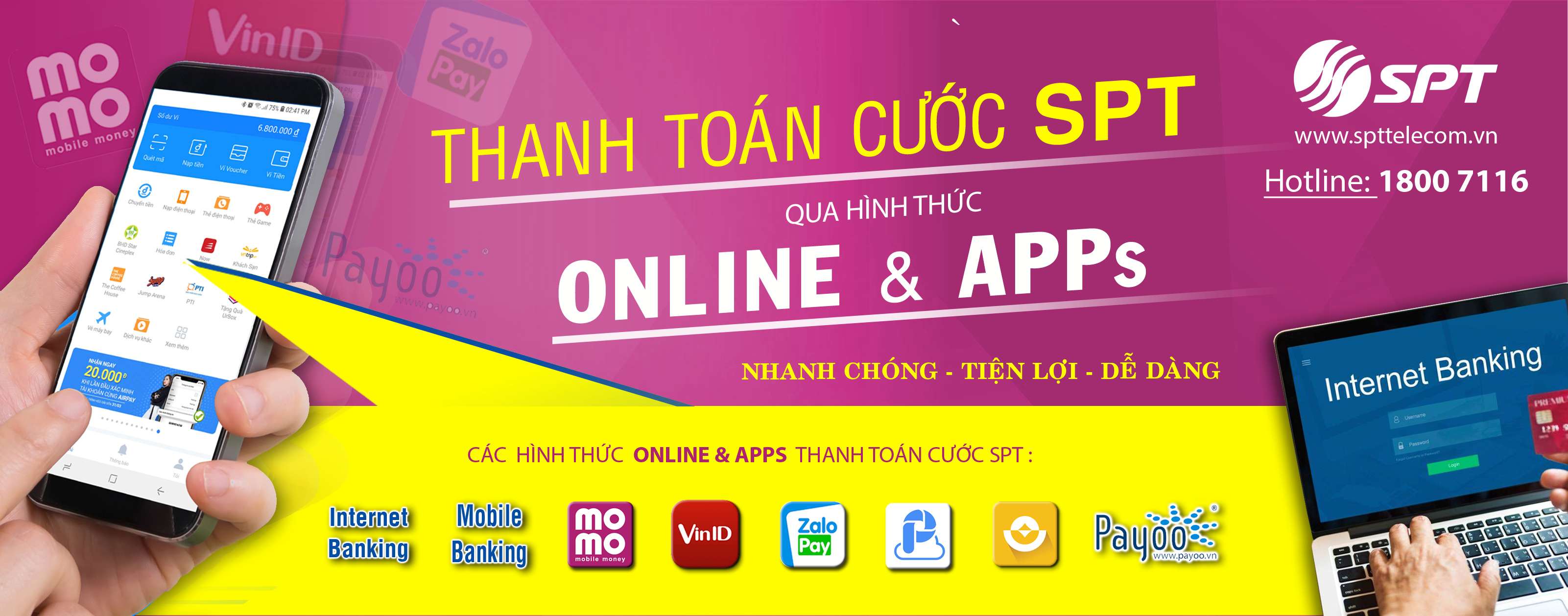 spttelecom thanh toan cuoc online silde